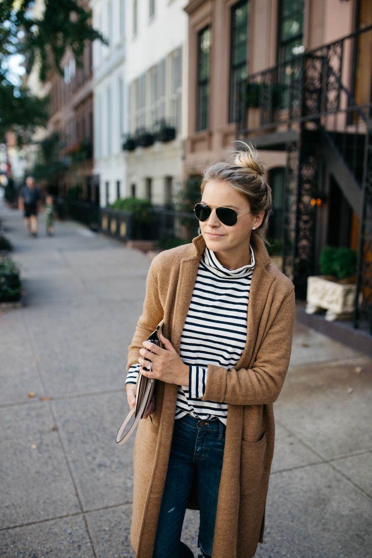 Camel Sweater Coat   Stripe Mock Neck Sweater
