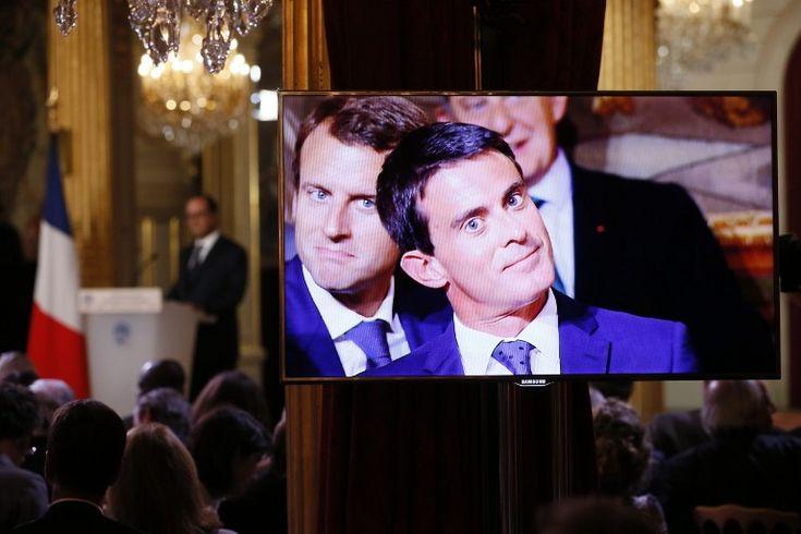Manuel Valls et Emmanuel Macron, pendant la conférence de presse de François Hollande, jeudi 18 septembre 2014. Patrick Kovarik. AFP