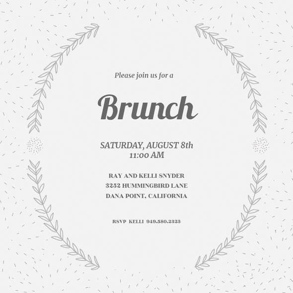Laurel Semi Frame  Free Brunch  Lunch Invitation Template
