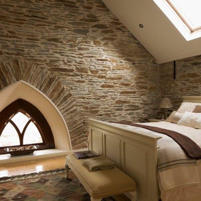 mur en fausse pierre pour la chambre a coucher