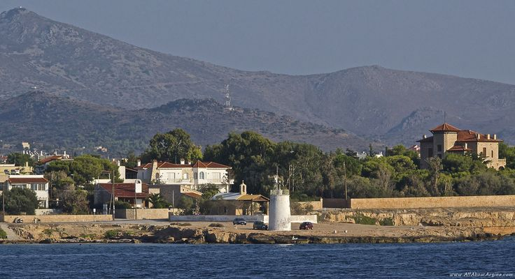 View of the light tower from the boat, Aegina