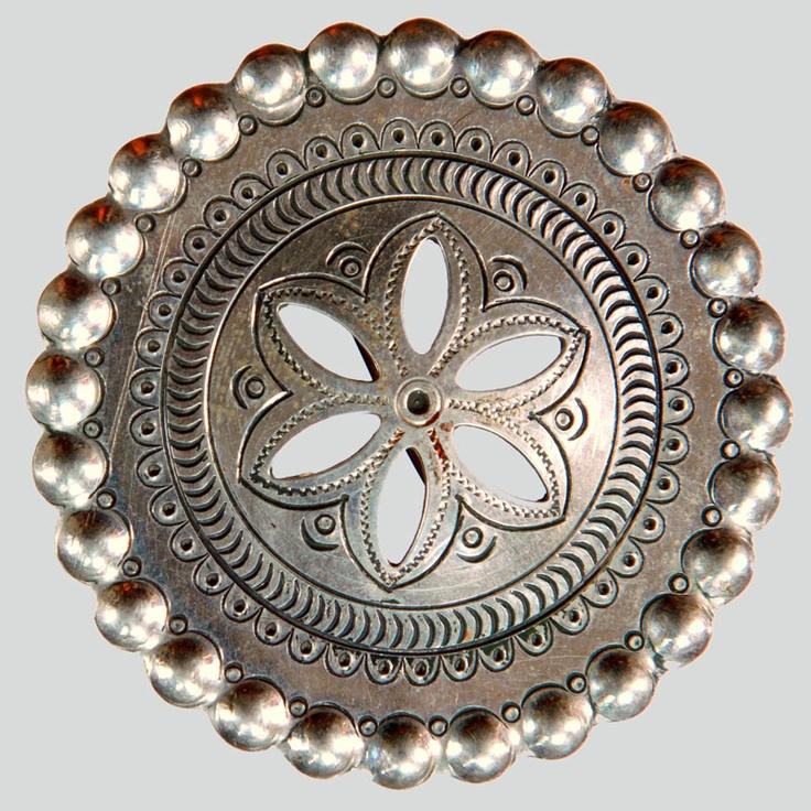 Clip to fasten bridal head wear. Made by clip-maker Franciszek Koszarka for his fiancée from alloy from melted pre-war coins. Cut, engraved.  Podhalanian Highlanders, Bukowina Tatrzańska, P. Zakopane, ca. 1968