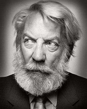"Donald McNichol Sutherland, OC (born 17 July 1935) is a Canadian actor. Some of Sutherland's more notable movie roles included offbeat warriors in popular war movies such as The Dirty Dozen, MASH and Kelly's Heroes, as well as characters in other popular films such as Klute, Invasion of the Body Snatchers, JFK, Ordinary People and, more recently, The Hunger Games. (Image Donald Sutherland by Platon, 2011) ""At my age, you sort of fart your way into a role."""
