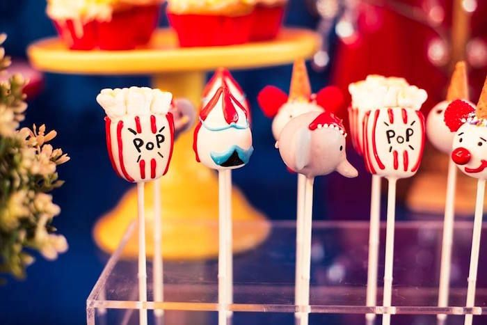 Circus cake pops from a Big Top Circus Birthday Party on Kara's Party Ideas | KarasPartyIdeas.com (8)