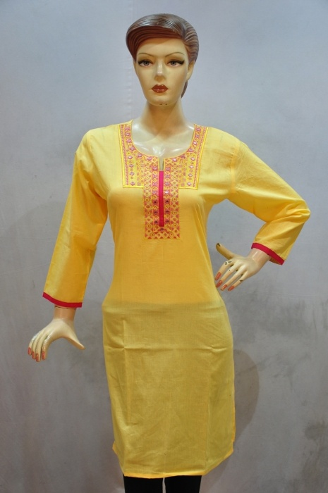 New designer yellow kurti with cotton fabric neck on