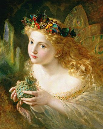 "Sophie Anderson (1823-1903), ""Take The Fair Face of Woman"", 1869.  ""Take the Fair Face of Woman, and Gently Suspending, With Butterflies, Flowers, and Jewels Attending, Thus Your Fairy is Made of Most Beautiful Things"" (Charles Ede)"