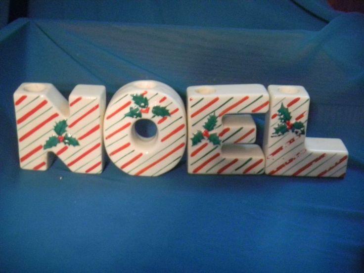 Vintage Candy Cane Streifen & Holly Noel Buchstaben Weihnachten Keramik Kerzenhalter   – things i like