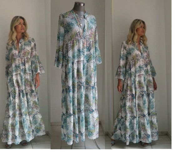 Boho Maxikleid Palmen Print Langes Sommerkleid Weissgrundig Etsy Boho Fashion Outfits Maxi Dress