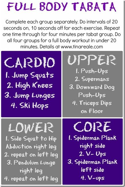 full body tabata workout. Hate these, but they're some of the best workouts I've had