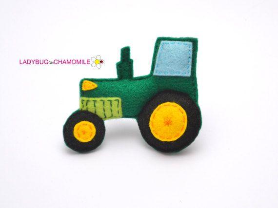 Felt TRACTOR stuffed felt Tractor magnet or ornament Tractor