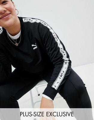 e05741e40d2 Puma   Puma Exclusive To ASOS Plus Sweatshirt With Taped Side Stripe In  Black