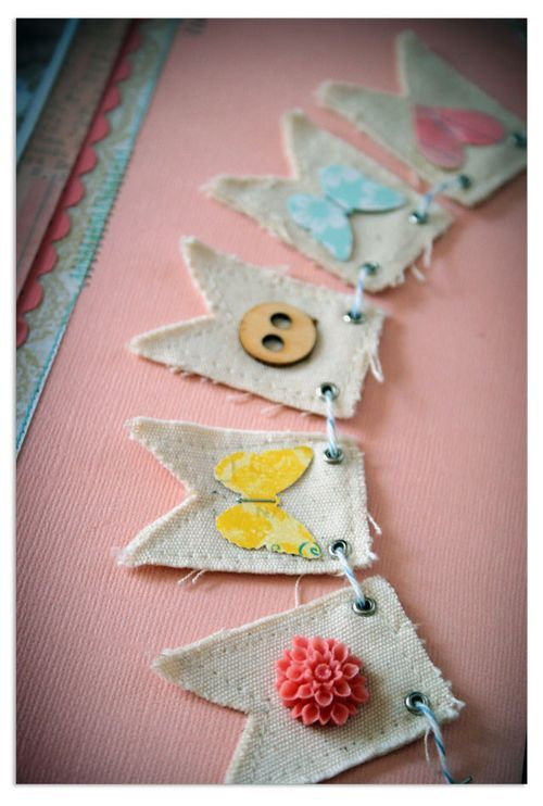 These mini banners are a great way to use up small scraps and leftover trims.