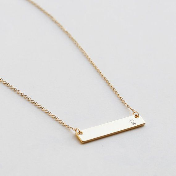 764eedb46f0b4 Bridesmaid gift, Bar Necklace, best friend, Personalized Name Gold ...