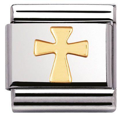 Bracelet Charm COMPOSABLE Classic RELIGIOUS in stainless steel and 18k gold | Official NominationShop