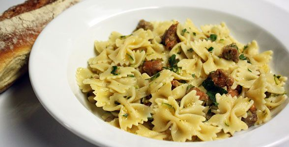 Farfalle with Hot Sausage and Zucchini
