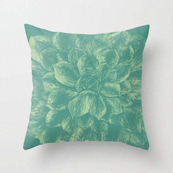 Succulent Throw Pillow Cover, succulent pillow, succulent throw, modern pillow, green throw pillow, cactus throw pillow, teal throw pillow