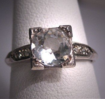 Antique White Sapphire Wedding Ring Vintage by AawsombleiJewelry, $695.00