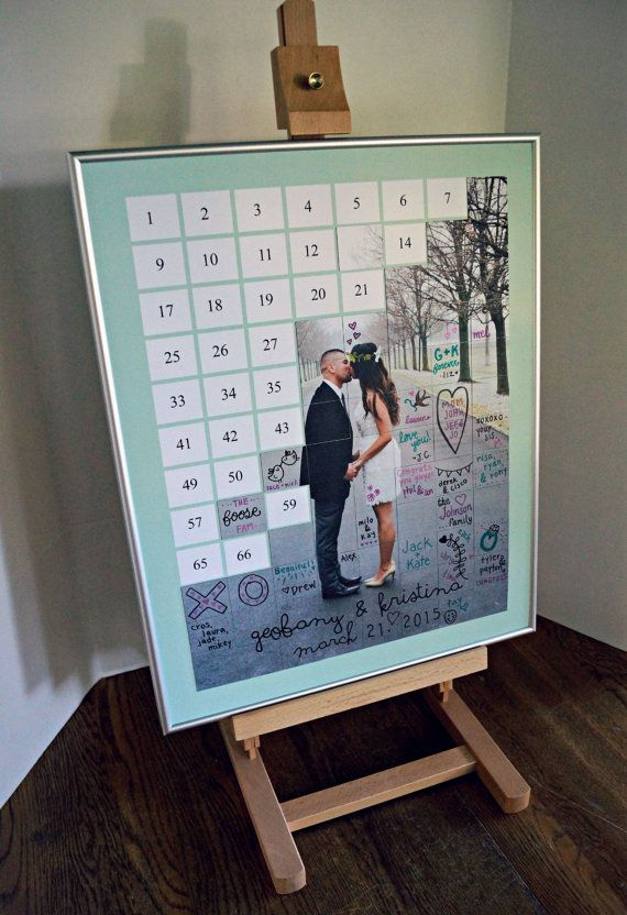 Back by popular demand! My photo tile puzzle guestbook is a fun and unique way to display your guests signatures during and after your wedding! Not