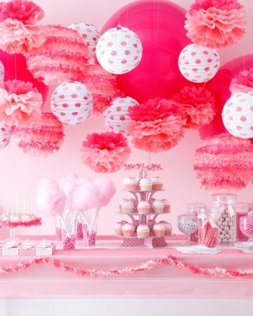 Pink party decor ideas.