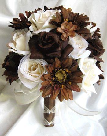 22 pc Wedding Bouquet Silk Bridal flowers WHITE ORANGE BROWN DAISY