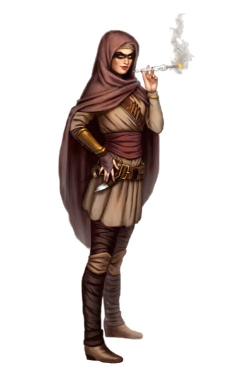 Female Human Smoking Rogue Merchant Trader - Pathfinder PFRPG DND D&D 3.5 5th ed d20 fantasy