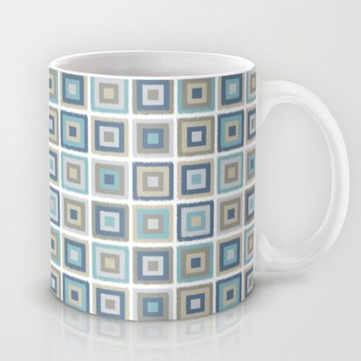 juliagrifoldesigns My simple squares Mug by Juliagrifol designs mug #pattern #geometric #design #blue #coffee #kitchen #decoration #society6