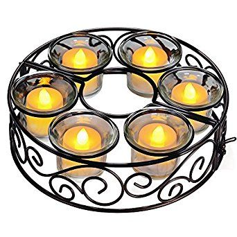 Outdoor Patio Umbrella Lights Using Candles Or Battery Operated Votives  Fits Right Around The Umbrella Pole
