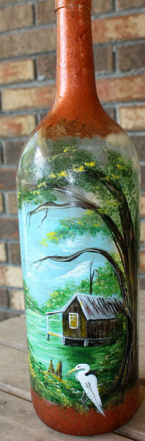 Hand painted wine bottle with a bayou swamp scene
