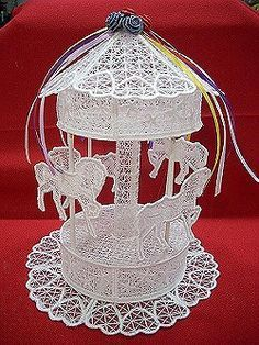 Machine Embroidery-Free standing lace This Carousel may be the most beautiful item you are going to see for YEARS to come!!! We hope you enjoy making this item as much as we had creating, and digitizing it.