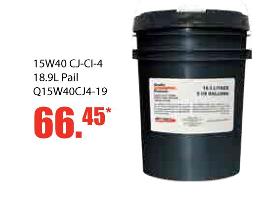 It's always better to purchase in bulk! We have 15W40 CJ CI 4 18.9L pail for only 66.45 until November 30, 2016. This product is CJ-4 PREMIUM DIESEL OIL is a low ash multi-grade engine oil formulated specifically to meet the stringent requirements. This multi-purpose crankcase oil not only exceeds API CJ-4 requirements but is backward compatible making it ideal for large, small and mixed fleets where multiple service categories may be recommended…