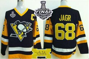 2017 Stanley Cup Final Patch Penguins #68 Jaromir Jagr Black CCM Throwback Autographed Stiched NHL Jerseys Stitched NHL Jersey