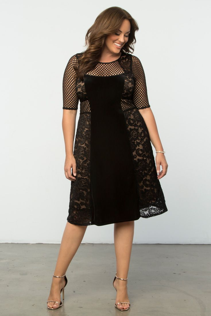 Add a twist to your lace collection with our plus size Mixed Lace Cocktail Dress. A combination of lace, mesh and velvet make this a unique and trendy style. Shop our entire made in the USA collection online at www.kiyonna.com.