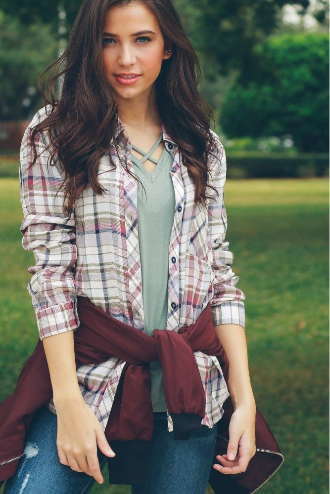 Friday Night Lights Plaid Top Taupe
