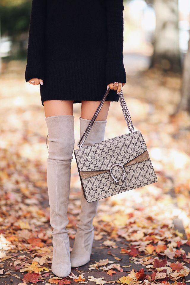 Stuart Weitzman Highland boots and Gucci Dionysus handbag