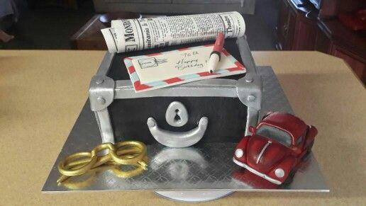 Vintage Volkswagen Beatle and Case Birthday Cake