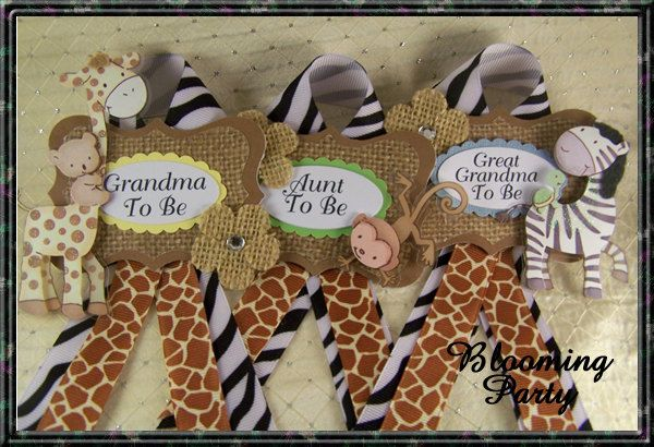 3 Safari Guest Corsage Safari  Baby Shower Corsage Safari Theme Corsage Safari Baby Shower Badge by BloomingParty on Etsy https://www.etsy.com/listing/267020547/3-safari-guest-corsage-safari-baby