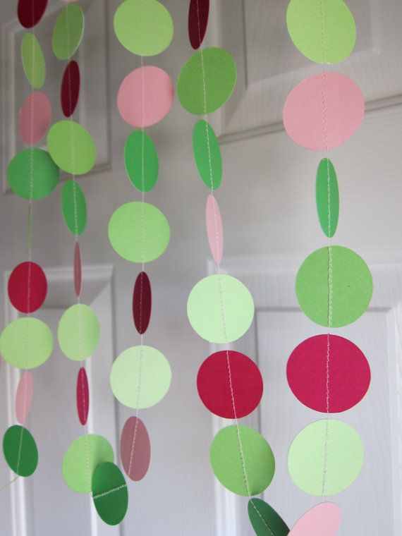 This garland would be berry cute for a Strawberry Shortcake birthday party!: Flowers Gardens, Paper Garlands, Parties Decorations, Strawberry Shortcake Party, Flower Gardens, Birthday Party Decorations, Gardens Parties, Birthday Parties Decor, Strawberries Shortcake Parties