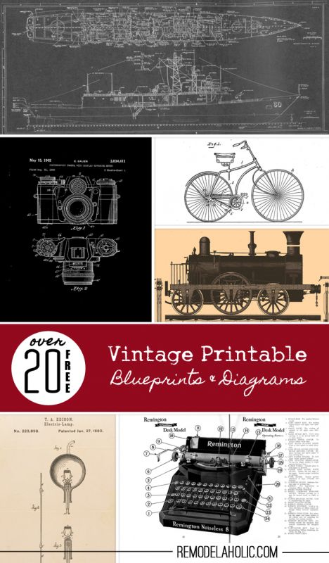 20+ Free Vintage Printable Blueprints and Diagrams