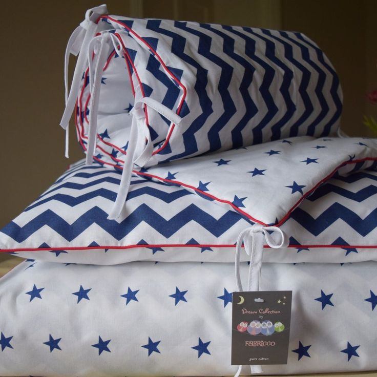 100% COTTON Cot Bed Duvet Cover Set & Bumper Navy Chevron Stars red piping