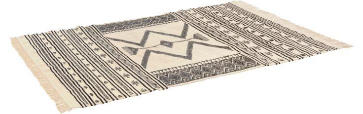 Jefuzan Tapis tissé laine 170x240, noir et blanc (www.habitat.fr)