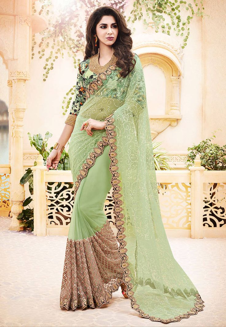 Buy Moss Green Net Saree with Blouse