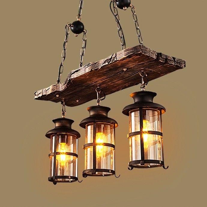 industrial rustic 2 light wood beam