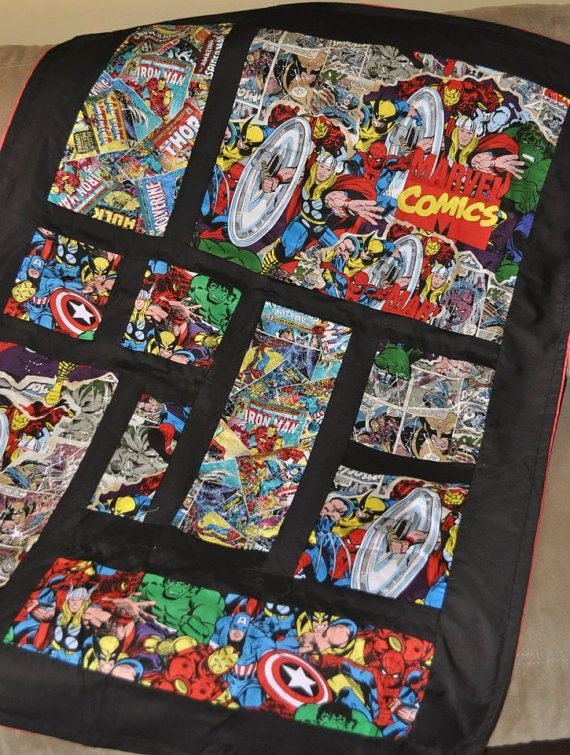 Marvel comic baby quilt by ComicQuilts on Etsy