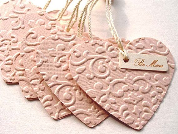 Unique Handmade Embossed Pink HEART tags 6 by smatsunaka on Etsy, $3.00