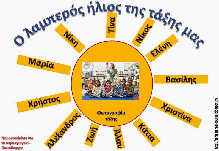 """Δραστηριότητες, παιδαγωγικό και εποπτικό υλικό για το Νηπιαγωγείο: Πρόταση για Παρουσιολόγιο τάξης: """"Ο λαμπερός ήλιος της τάξης μας"""""""