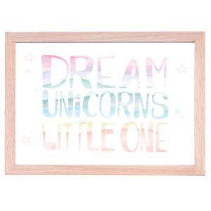 Unicorn Art Quote Nursery PrintDream Big Little One Australia