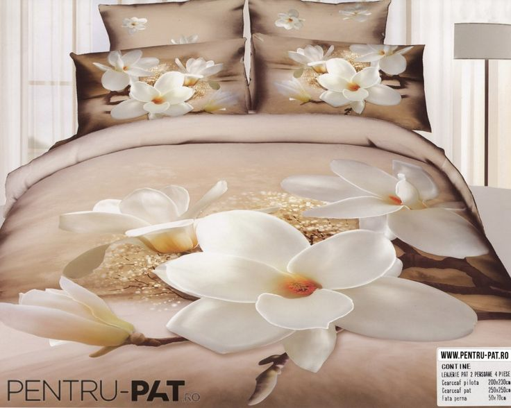 Lenjerie de pat bumbac dublu satinat de lux Casa New Fashion 3D cu magnolii