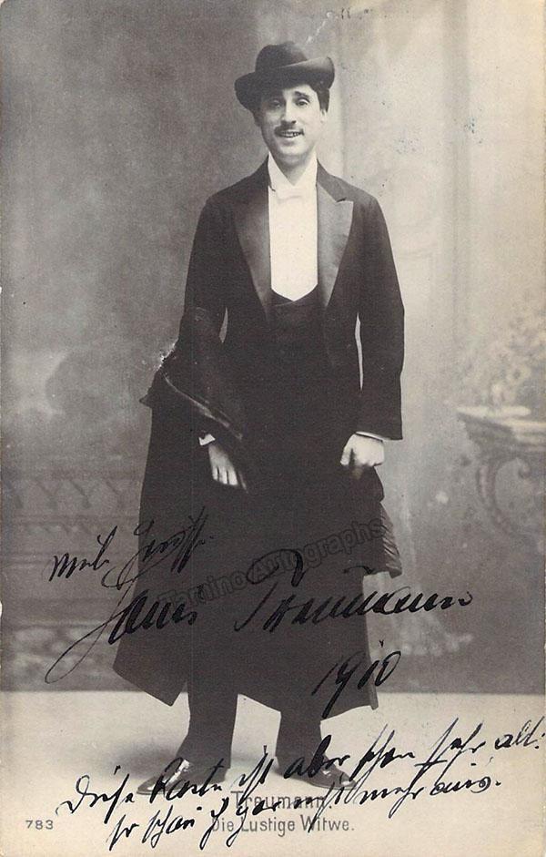 Treumann, Louis - Signed Postcard in Die Lustige Witwe, World Premiere 1905