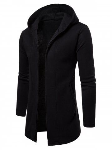 352e36204 Longline Open Front Solid Color Hoodie