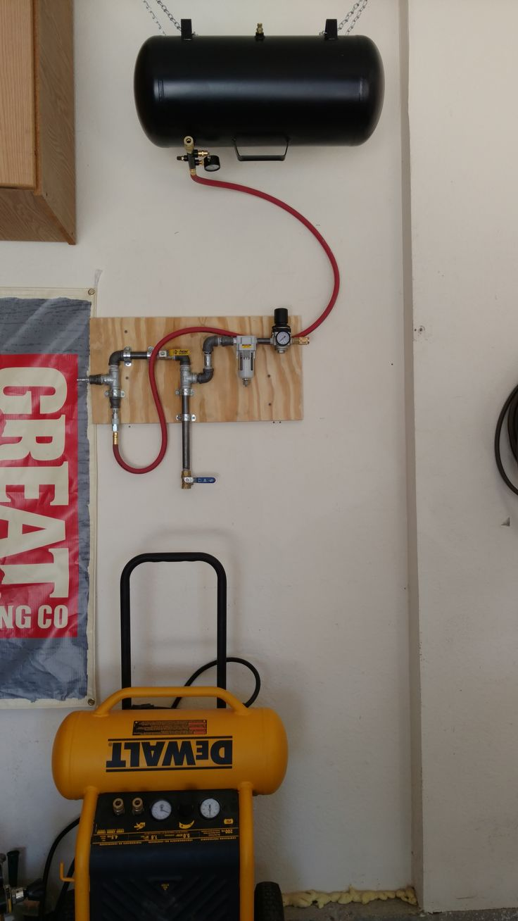 Homemade air compressor piping with pressure regulator, moisture trap, auxiliary air tank, and blow-off valve.  All powered by a 5 CFM Dewalt compressor.